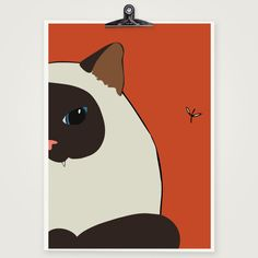 Siamese Cat Art Print - Cute SealPoint Siamese Cat Print via Etsy
