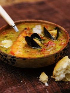 "Fish soup. Web site comment:""...substitute homemade fish or shellfish stock in place of the water in this recipe, it would taste a whole lot better..."""