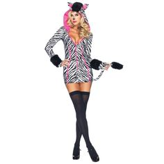 Somewhere over the rainbow, this beautiful zebra siren struts her stuff. A beautiful pink and zebra print mini dress and matching ear hoodie completes this fantasy look. Drive them wild zebra girl! Fe