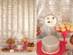 Silver cake and cake topper with red display plates