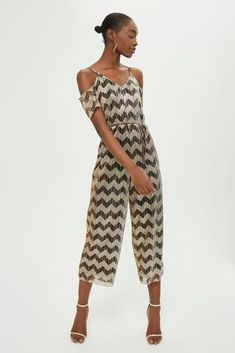 abe7079a117 BNWT Topshop Gold Zig Zag Cold Shoulder Plisse Jumpsuit 8  fashion   clothing  shoes