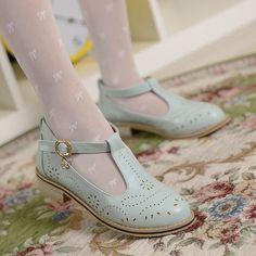 Womens Retro Vintage Brogue Leather T-Strap Bar Mary Janes Oxford Pump Shoes #BrandNew #MaryJanes