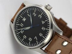 """Stowa Flieger (""""reissue of the Stowa 'Beobachtungs-uhr' [B-uhr] pilot's watch""""). Stowa makes my all-time favorite automatic watch, and this is it."""