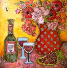 """""""Fiore di Vino"""" 24"""" x 24"""" Mixed Media by Keli Sim DeRitis.......Love it!"""
