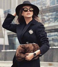 Black Jacket, Brooch, Black Hat, Sunglasses and Fur Bag