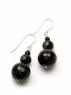 Audrey faceted stone earrings with sterling silver hooks. Available in onyx (black), smoky quartz (brown), grey agate (grey). Visit www.hardtofind.com.au #jewellery #gifts #accessory #bling