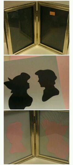Disney silhouette in old frame. Great for little girls Disney bedrooms!