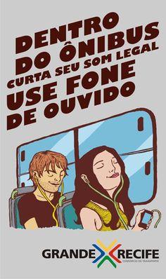 Cartaz Dentro do ônibus use Fone de ouvido #FicaDica