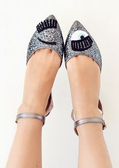 Glitter funky eye high heels