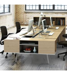 Now available at Smart Furniture: the Bivi Shared Office for Four by Turnstone. Modern workplace, meet the Bivi modular desking system. Office Space Design, Modern Office Design, Office Furniture Design, Office Interior Design, Office Interiors, Office Designs, Shared Office, Office Set, Office Table