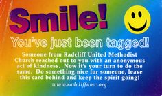 random acts, smile card, church project