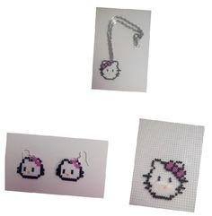 Conjunto de colgante y pendientes de hello kitty para niñas #HOWTO #DIY #artesanía #manualidades vía @ra