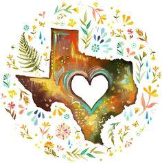 Texas artwork by Katie Daisy (www.KatieDaisy.com)