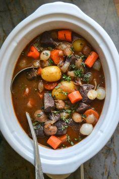 Slow Cooker Crock Pot Beef Bourguignon recipe