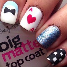 Matte Simple Alice in Wonderland nail art!