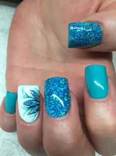 Turquoise and white with glitter #nails #nailart