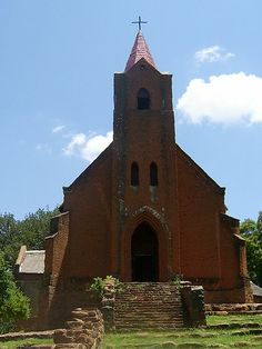 "Mission church at Botshabelo near Middelburg, Mpumalanga. Botshabelo (""place of refuge"" in the Northern Sotho language) originated as a mission station established by Alexander Merensky of the Berlin Missionary Society, in February 1865 in the Transvaal Republic. Merensky had fled with a small number of parishioners following the attacks Ga-Ratau, by the soldiers of Sekhukhune (king of the baPedi.) Within a year of having established the mission station, the population had grown to 420…"