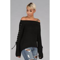 Off the Shoulder Knit Sweater with Lace Up Sleeves in Black Off the Shoulder Lace Up Bell Sleeves with Metal Eyelets Elasticized Shoulder Line and Hem Acry Big Fashion, Fashion 2017, Fashion Online, Autumn Fashion, Fashion Outfits, New York Fashion Week 2017, New Years Eve Dresses, Fall Winter Outfits, Online Shopping Clothes