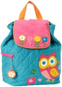Really cute padded quilt girls backpack with applique owl and flowers.