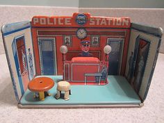 Marx 1920s Home Town Police Station with Desk.  Very cool old toy.  I like old metal toys don't you?