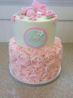 Raspberry rose baby shower cake
