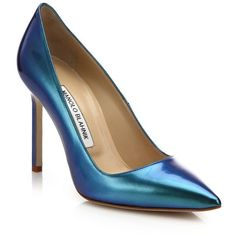 Manolo Blahnik BB Metallic Leather Point-Toe Pumps ($260) ❤ liked on Polyvore featuring shoes, pumps, apparel & accessories, blue, pointy-toe pumps, pointed-toe pumps, manolo blahnik shoes, blue pointed toe pumps and metallic shoes