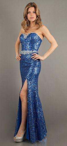 Sparkly Sequins Royal Blue Prom Dress Long Front Slit Strapless