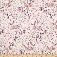 Cottage Garden Akebia Lavender from @fabricdotcom  Designed by Alice Hickey for Free Spirit, this cotton print is perfect for quilting, apparel and home decor accents. Colors include pink, purple, aqua, mulberry, grey and cream.