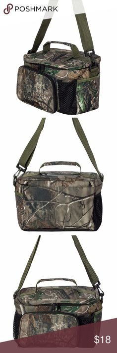 "Real Tree Camouflage Lunch Box Cooler NWT by Kati 600-denier polyester with PVC backing - Insulated waterproof lining - Front zippered pocket - Two outside mesh pockets - End outside pocket - Easy access Velcro top flap - Holds up to 12 beverage cans - Adjustable removable shoulder strap - Size: 11"" x 9"" x 7""   Real Tree Camouflage Lunch Cooler Bag, Brand New, also comes in Pink Real Tree Camouflage and Oilfield Camouflage Real Tree Camo by Kati Bags"