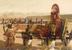 An artistic rendering of an ancient Chimu Indian funeral for a king
