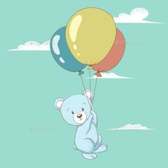 Bear Flying with Balloons
