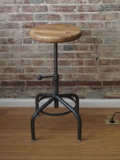 Industrial Stool Adjustable Drill Press Stool by C&osIronWorks $155.00 & Vintage Iron Industrial ECL Furniture Bar Stool Wooden Top ... islam-shia.org