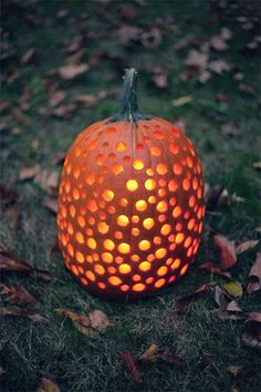 Drill holes in pumpkin for a quick and easy design