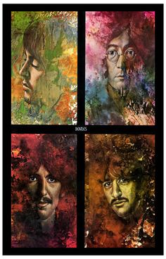 A great poster of psychedelic watercolor art of John Lennon, Paul McCartney, George Harrison, and Ringo Starr of the Beatles! Based on Let It Be. Ships fast. 11x17 inches. Check out the rest of our FA