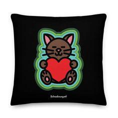 Kissen • Katze mit Herz – grün, schwarz • Design Minnie Mouse, Disney Characters, Fictional Characters, Samba, Orange, Peace Dove, Pillow Design, Unique Gifts, Ghosts