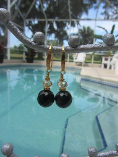 Faceted Black Onyx With Golden Swarovski by JKCustomDesigns