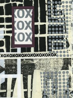 B+W silkscreened papers  with collage