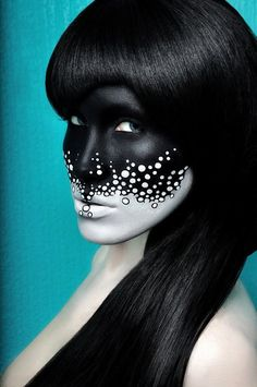 Creative makeup artists;;; I think I would like to see this in reverse on the face and body, with black bubbles rising up into a white face.