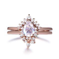 Pear Moonstone Engagement Ring Bridal Sets Diamond Tiara Wedding Band 14k Rose Gold 5x7mm - 6 / 14K White Gold