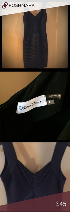 Black Calvin Klein Dress Worn once, black Calvin Klein dress. Zips up the back, as shown in photo. Knee length. Calvin Klein Dresses Midi