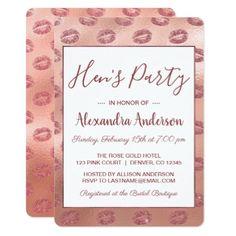 Rose Gold Sexy Lipstick Hen's Party Card - invitations custom unique diy personalize occasions
