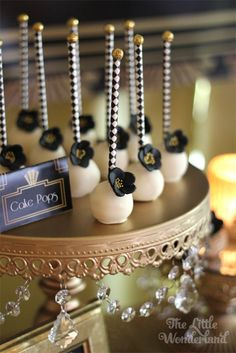 Cake Pops from a Great Gatsby Birthday Party