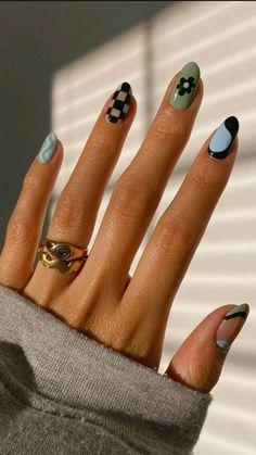 Funky Nail Designs, Nail Art Designs, Short Nail Designs, Nails Short, Nail Tattoo, Funky Nails, Fire Nails, Minimalist Nails, Best Acrylic Nails