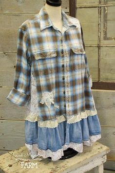 Farm Girl Fancies Upcycled Flannel Shirt Jackets by: Sweet Magnolias Farm (To Read entire description please click on the +MORE in the bottom left of description) Original size Mens Med. . ( please check measurements) Approx. Shoulders 17 Bust Up to 42 Length 33-35 Hips Up to