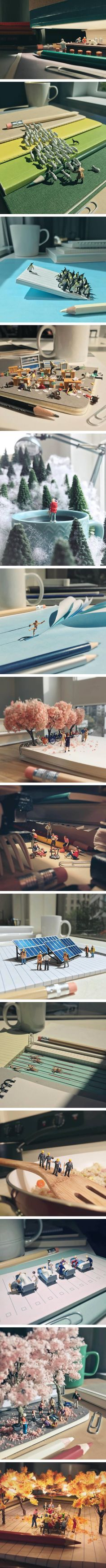 Miniature scenes set amongst office supplies