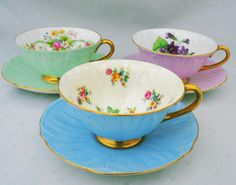 Set of 3 Shelley oleander mauve green blue teacup and saucer violets dresden dubarry by simplytclubhouse on Etsy https://www.etsy.com/listing/259563030/set-of-3-shelley-oleander-mauve-green