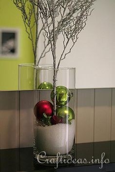 CHRISTMAS DECOR - EASY DIY - I think that is epson salt in the vase looks like snow, smart idea