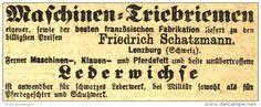 Original-Werbung/ Anzeige 1868 - MASCHINEN - TRIEBRIEMEN / LEDERWICHSE / SCHATZMANN LENZBURG   - 65 x 25 mm