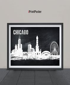 Chicago chalkboard poster Art Print Chicago by iPrintPoster