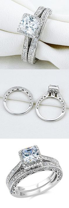 Newshe 2ct Princess Cut White Cz 925 Sterling Silver Wedding Band Engagement Ring Set Size 7